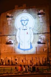 """""""Drugie życie fabryki"""" - Andrzej PoProstu (mural), Bartosz SIorek (animacja), Steve Nash (muzyka), Pomorska 79, fot. Paweł Trzeźwiński"""
